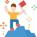 Ein comic Icon, wo ein Mann auf einen Gipfel besteigt und dabei eine Fahnehochhält. Steht für Erfolg.