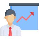Comic Icon Bild Mann steht vor einem Flipchart. Dort drauf ein Pfeil nach oben, der für Wachstum steht.
