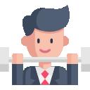 Icon Bild mit einem Comic Geschäftsmann, welcher gerade Gewichte stämmt. Mastermind Cliubs in Deutschland mit Roman Topp