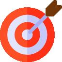 Comic Icon Bild mit eine Zielscheibe drauf und in der Mitte einen Pfeil, der ins Schwarze getroffen hat.