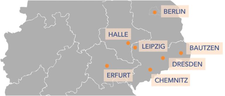 Deuschlandkarte mit eingezeichneten Standorten von Mastermindclubs - Roman Topp